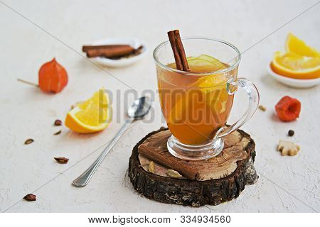 Apple Cider With Spices. Alcoholic Or Non-alcoholic Hot Drink Made From Fresh Unfiltered Apple Juice