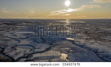 Winter Landscape Of The Forest-tundra, River Bank, Bird's Eye View.arctic Circle, Tundra. Beautiful