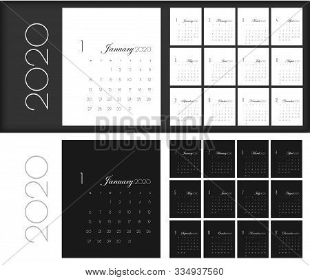 Calendar For 2020 Year Vector Illustration. Business Planner, Organizer With Flipboard Text And Numb