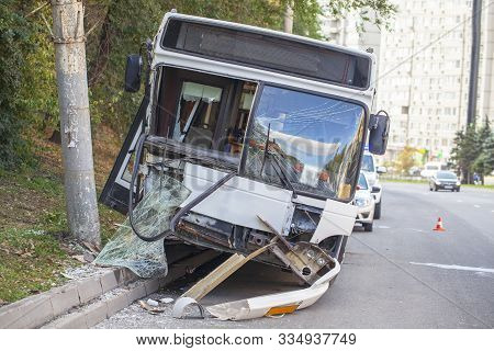 Road Accident, Accident With A Passenger City Bus, The Bus Crashed Into A Pole