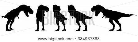 Tyrannosaurus Rex ( T-rex ) Is Walking And Snarling . Silhouette Design . Set Of Various Dinosaur Po