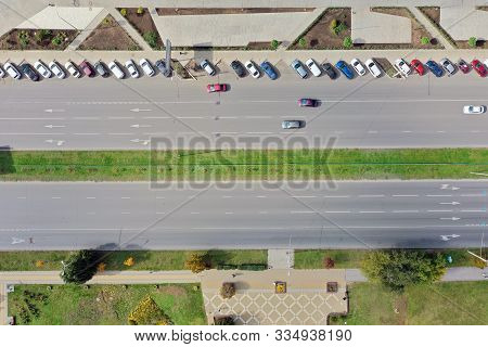 Rostov-on-don Aerial View, City Road From Above, Aerial View On The Of Expressway Across City Road