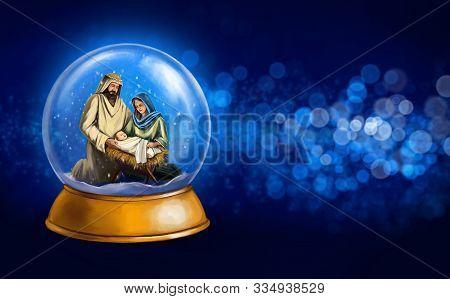 Christmas Story. Christmas Night, Mary, Joseph And The Baby Jesus, Son Of God , Snowglobe Christmas