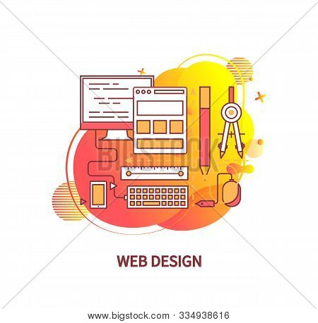 Web Design Vector, Computer And Application For Visual Imagery Creation Vector, Flat Style Screen An