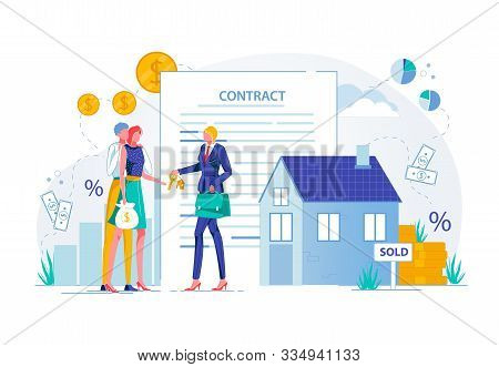Purchasing House With Estate Agent. Property Buying Deal Conclusion And Real Estate Investments. Bus