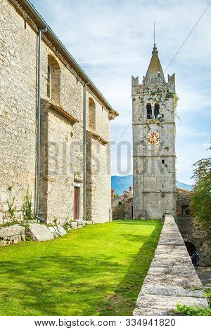 Beautiful Old Town Of Hum On The Hill In Istria, Croatia, Monastery And Tower Bell Of Saint Jerome C