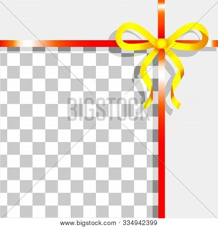 Empty Promotional Banner With Ribbon Bow Decoration. Yellow And Red Tape On Transparent Background.