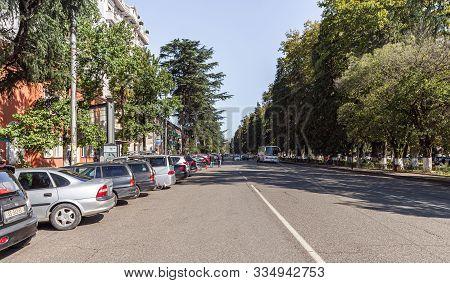 Zugdidi, Georgia, October 10, 2019 : The Central Street - Tbilisi - Senaki - Leselidze Hwy In Zugdid