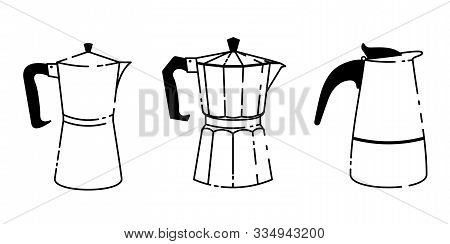 A Set Of Three Different Geyser Italian Coffee Makers In A Line Style. Vector Illustration