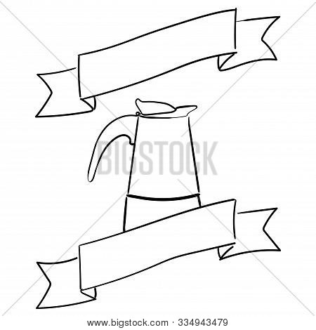 Italian Geyser Coffee Maker With A Decorative Ribbon. Place For Text. Vector Hand-drawn Illustration