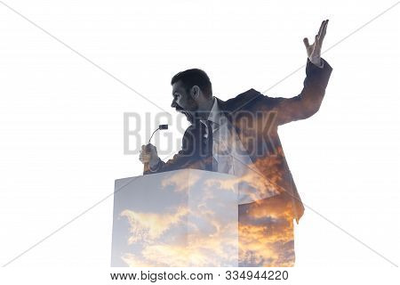 Scream. Speaker, Coach Or Chairman During Politician Speech Isolated On White Background. Double Exp