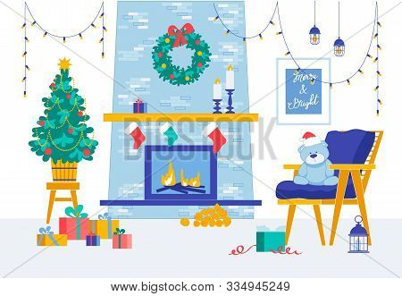 Merry Christmas And Happy New Year Room Decoration. Burning Fireplace. Garlands And Festive Fir Tree