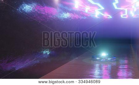 3d Render, Neon Light, Glowing Lines, Ultraviolet, Stage, Triangular Portal, Arch, Pedestal, Virtual