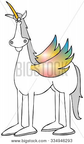 Illustration Of A Mythical White Unicorn With Multi-colored Wings.