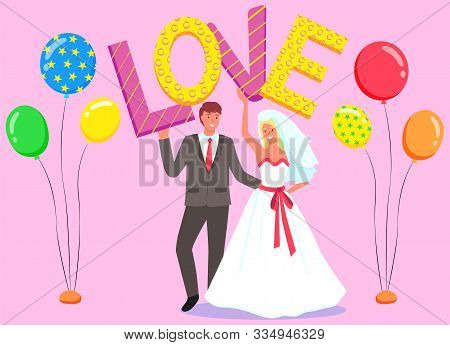 Photozone For Newlyweds Vector, Bride And Groom Dancing First Dance Flat Style. Marriage Of Couple,