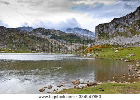 Fantastic Lake Ercina, One Of The Famous Lakes Of Covadonga, Asturias ,  Spain