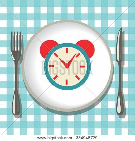 Vector Hand-drawn Empty Plate With Folk, Knife And Alarm Clock. Flatware On Checkered Tablecloth Bac