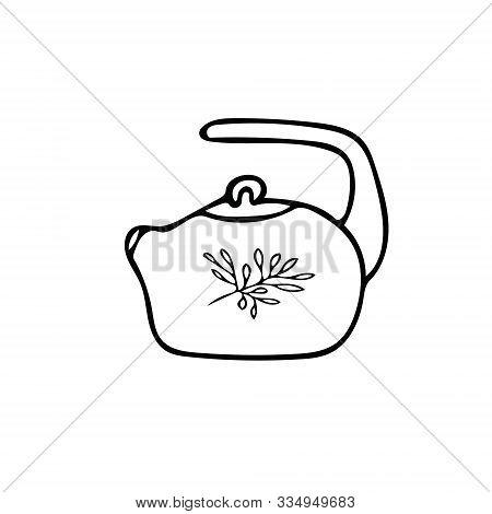Doodle Style Teapot Icon Element. Scandinavian Cozy Simple Hygge Liner Style. Hand Drawn Pot, Kettle