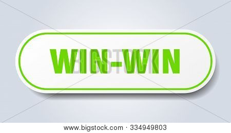 Win-win Sign. Win-win Rounded Green Sticker. Win-win
