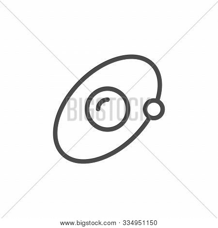 Planet Orbit Line Outline Icon Isolated On White. Earth And Moon. Satellite Trajectory. Orbital Circ