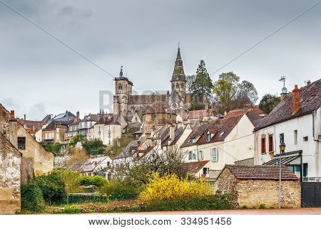 View Of Church Notre-dame In Semur-en-auxois, France