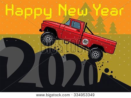 New Year And Christmas Greeting Card. Happy New Year Banner. Christmas Card With Classic Off-road Su