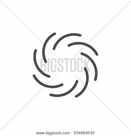 Black Hole Line Outline Icon Isolated On White. Spiral Tunnel. Space Collapsar. Wormhole And Superno