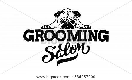 Logo For Dog Hair Salon, Dog Styling And Grooming Shop, Store For Pets. Vector Illustration Isolated