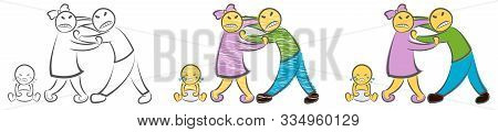 Quarreling Parents And Crying Baby. Hand Drawn Cartoon Doodle Vector Illustration. Angry Sad Parents