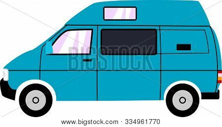 Simple Blue Cartoon High Top Campervan Illustration.