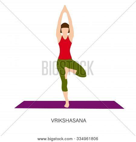 Yogi Woman In Vrikshasana Or Tree Pose.