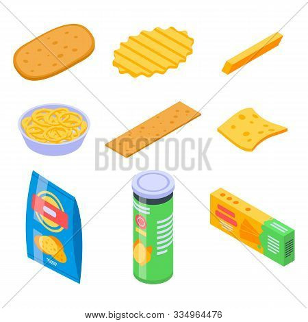 Chips Potato Icons Set. Isometric Set Of Chips Potato Vector Icons For Web Design Isolated On White