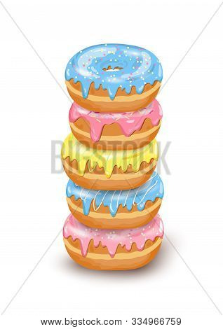 Vector Stack Of Donut Isometric Icons With Blue, Pink, Yellow Glaze And Sugar Decorative Icing On Wh