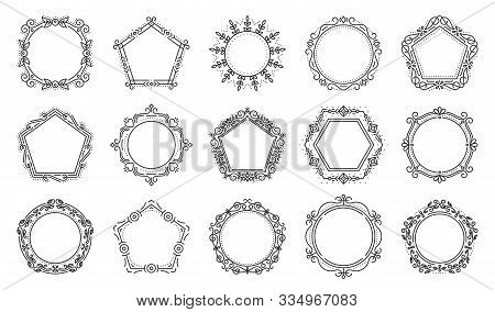 Decorative Vintage Ornamental Frame Set. Elegant Pentagon, Hexagon, Circle Monogram. Text Frames For