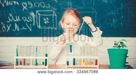 Interesting Approach To Learn. Kid Like To Experiment. Explore And Investigate. School Lesson. Girl