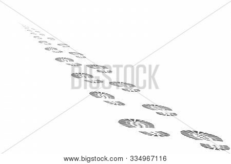 Footprints Of The Departing Into The Distance Beyond The Horizon Of Man. Footprints Isolated On Whit