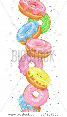 Vector Vertical Endless Border Of Donuts With Blue, Pink, Yellow Glaze And Sugar Icing On White Back