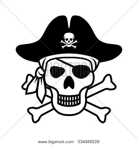Symbol Jolly Roger. Icon Pirate Skull Isolated On White Background. Sign Skull With Bandana, Pirate