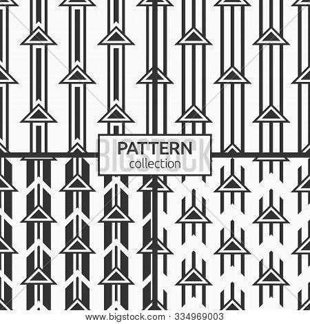 Set Of Four Abstract Geometric Seamless Pattern Of Triangles Located On Parallel Lines. Arrows Motif
