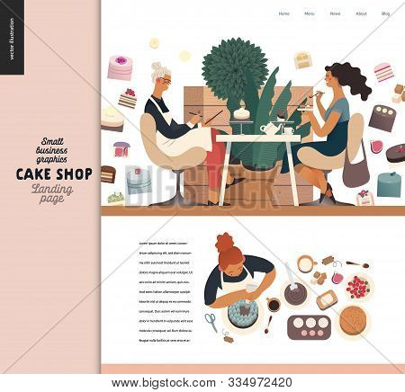 Cake Shop -small Business Illustrations -landing Page Design Template -modern Flat Vector Concept Il