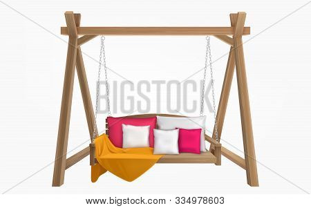 Wooden Porch Swing With Pillows And Yellow Blanket. Vector Swing Bench Furniture With Cushions For O