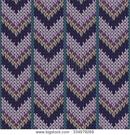 Modern Downward Arrow Lines Christmas Knit Geometric Seamless Pattern. Ugly Sweater Knit Effect Orna