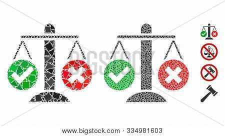 Truth Decision Mosaic Of Inequal Pieces In Various Sizes And Color Tinges, Based On Truth Decision I