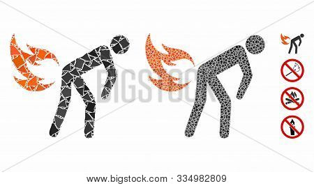 Fire Farting Mosaic Of Uneven Items In Various Sizes And Color Tints, Based On Fire Farting Icon. Ve