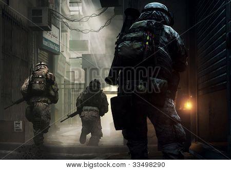 Soldaten zur Bedienung