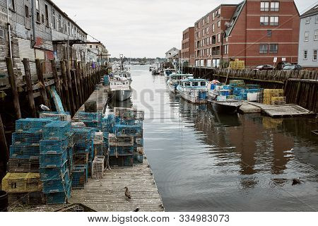 Portland, Maine - September 26th, 2019: Commercial Fishing Wharf In The Old Port Harbor District Of