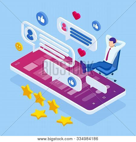 Isometric Businessman Or Social Media Consultant Communication, Dialog, Conversation On An Online Fo