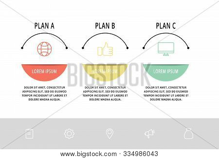 Vector Flat Line Template Circle Infographics. Business Concept With 3 Options And Arrows. Three Ste