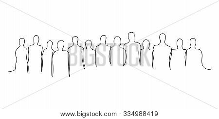 Continuous One Line Silhouette Of A Crowd Of People. Vector Illustration.