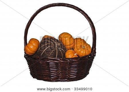 Fall Basket With Pumpkins
